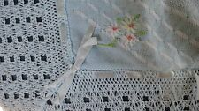 "Vintage 1950s  Baby Blanket  36"" x 36""  BLUE ,  NEW IN BOX"