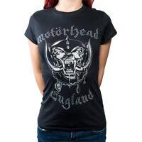 Large Women's Motorhead T-shirt - Ladies Fashion Tee England Rhinestone