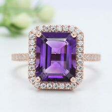 Purple Amethyst Emerald Stone Ring 10K 14K Solid Gold Engagement Gift Ring GN48