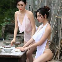 Ladies Backless Camisole Vest Halter Bra Cowl Neck DuDou See Through Underwear