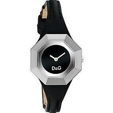 D&G Ladies Watch DW0283 String with Black Leather Strap and Black Dial