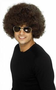 Smiffys Costume Perruque Afro funky des années 70, homme - Marron (Brune)