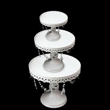 3Pcs Crystal Decor Metal Cake Holder Cupcake Stand Set Wedding Party White Plate