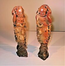 New ListingPair of Antique Asian Hand Carved Figurines - Soapstone