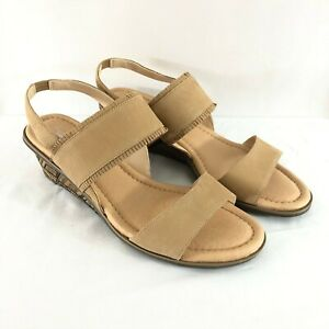 Dr Scholls Womens Sandals Original Collection Wedge Leather Slingback Beige 9.5