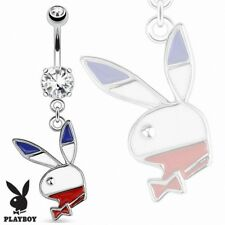 blue white red Piercing navel Playboy