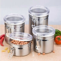 Stainless Steel Tea Coffee Sugar Kitchen Storage Canisters Jars Pots Container