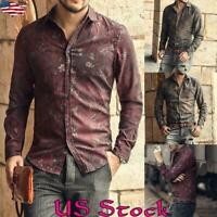Men Shirt collar Long Sleeve Slim Fit Bohemian Casual Shirts Top Blouse Fall US