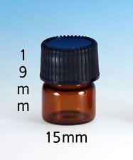 144 Pcs Amber 1/4 Dram Glass Vials w/ caps [15mmX19mm]