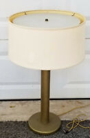 VINTAGE 60's MID CENTURY MODERN WALTER VON NESSEN BRASS BASE COLUMN TABLE LAMP
