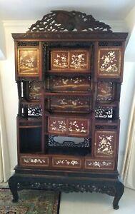 Antique Japanese Shibayama Lacquered Hardwood Cabinet