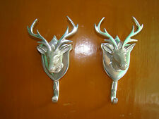 Metal wall mount stag head coat hook set of 2 pieces deer head hook antelope au-