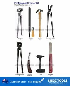 Professional Farrier Kit,Set,Horse,Nippers,Clinchers,Pull-Off,Buffer,Rasp,Hammer