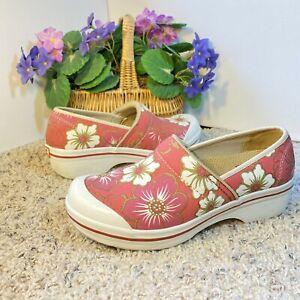 Dansko Volley Clogs Size 39 EU 8.5/9 US Pink Floral Cotton Vegan Canvas Shoes