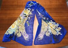 Royal Blue Peacock Sheer Chiffon Scarf: NWOT Includes Free Scarf Ring