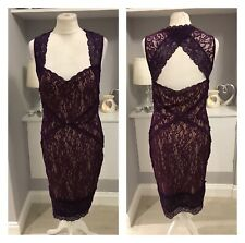 Oasis Purple Lace Cut Our Straigt Midi Pencil Bodycon Dress Sz M