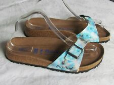 NEW Papillio By Birkenstock Ladies Pixel Blue SOFT FOOTBED Sandals Size 5.5 39
