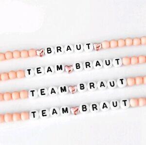Braut ♥ Team Braut Junggesellinnen Herz Armband Buchstabe Namen apricot gold