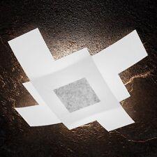 Plafoniera in vetro bianca e foglia argento moderna a 4 luci tpl 1121/95-FA