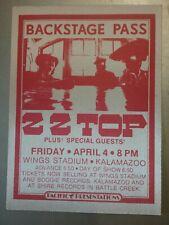Zz-Top Backstage Pass April 1977 Wings Stadium Kalamazoo Michigan! with Rush!