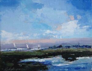 Original Landscape, Impressionism, Color, Ocean, Sailing, Michele Helders