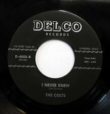 COLTS doo-wop 45 I never knew / Oh when you touch me DELCO Recs LOOKS vg++ E997