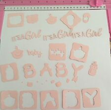 Die Cuts! 'Its A Girl Baby Mix' Cardmaking Embellishment Teddy Bottle Head Word
