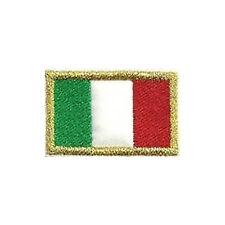 [Patch] BANDIERA ITALIA bordo in oro cm 4 x 2,5 toppa ricamata ricamo ITALY -222