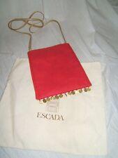 ESCADA Womens SEXY COINS RARE Vintage PINK RED Messenger Gold Purse Handbag Bag