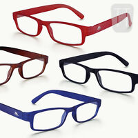 NEW RIMMED READING GLASSES READERS & POUCH - BLACK, BLUE, RED +1.0+1.5+2.00+2.50