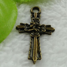 Free Ship 120 pcs bronze plated cross charms pendant 37x23mm #947