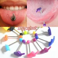 10Pcs Multi Tongue Tounge Ear Ring Bar Barbell Body Piercing Jewelry