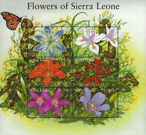 MODERN GEMS - Sierra Leone - Flowers of Sierra Leone - Sheet of 6 - MNH