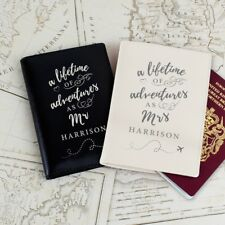 Personalised 'Lifetime of Adventures' Mr and Mrs Passport Holders Covers Wedding