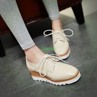 2017 Womens Fashion Oxfords Lace Up Platform Square Toe Wedge Heel shoes casual
