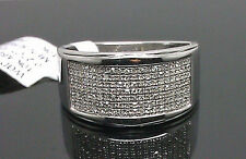10K Men's White Gold Band With 7 Rows of Diamond /Wedding Band, Pinky Ring