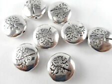 10 Silver Plated Tree Coin Beads Findings 65910