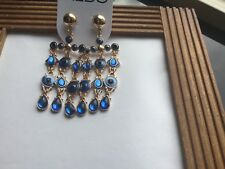 ALDO  GOLD TONE &  BLUE DANGLING EARRINGS with  EVIL EYE