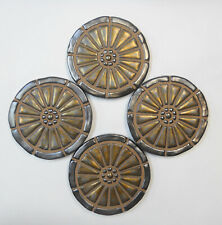 WAGON WHEEL Mosaic Tile Coasters Handmade Ceramic Gold/Pewter Glazed Set of 4