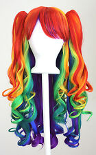 20'' Lolita Wig + 2 Pig Tails Set Rainbow Mixed Blend Gothic Sweet NEW