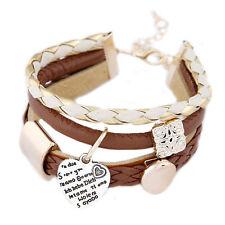 Womens Fashion Jewelry cuero marrón oro corazón Metal encantos pulsera regalo