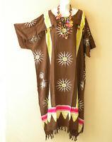 Brown Batik Floral Plus Kaftan Kimono Abaya Fringes Hippie Maxi Dress up to 5X