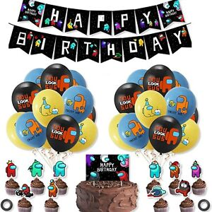 AMONG US Balloon Cake Cupcake Topper Birthday Party Decorations Supplies Banner