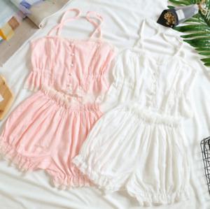 Sweet Cotton Pastel Pyjamas Korean Lace Lolita Kawaii Ruffles Sleepwear Set