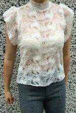 Women's MANGO sheer crochet high neck ruffle sleeve summer top M
