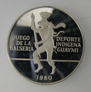 1980 Panama 10 balboas Balseria Game Native Dancer Silver