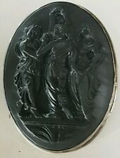 Antique 50cm Sterling Silver Car ved Lava Cameo Brooch Pendant Three Graces 17gm