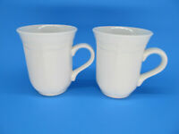 """2 French Countryside Tall White Coffee Mugs 4"""" Set of 2"""