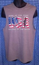 a92cca61bd759 USA Home of the Free Because of the Brave Gray Sleeveless T-Shirt NWOT -