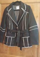 Women's Italian Leather Jacket Belted Vera Pelle Black Coat USA MED Euro 44